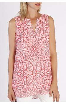 printed sleeveless split neck tunic *NEW*