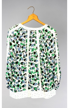 printed paneled peasant blouse with contrast trim insets *NEW*