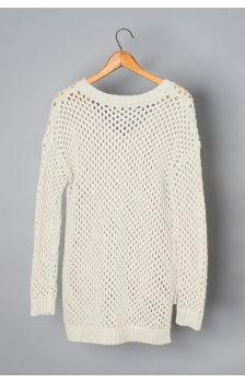 OPEN MESH V NECK PULL OVER