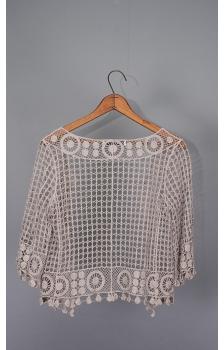 Open Mesh With Geometric Border Crochet Topper