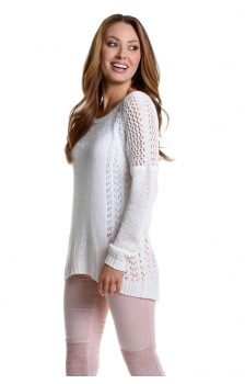 Pointelle Drop Shoulder Pullover