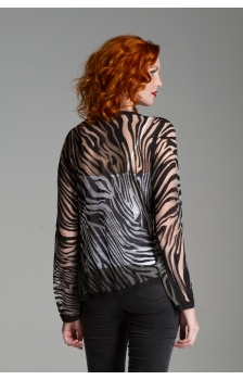 ZEBRA BURNOUT WATERFALL OPEN CARDIGAN