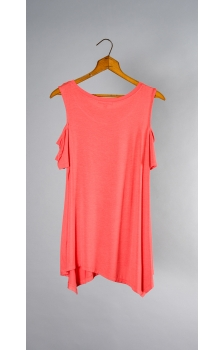 SHORT SLEEVE COLD SHOULDER ASYMMETRICAL HEM TUNIC