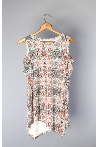 PRINTED SHORT SLEEVE COLD SHOULDER ASYMMETRICAL HEM TUNIC