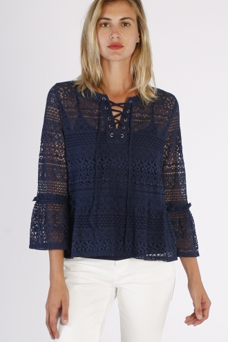 BELL SLEEVE LACE TOP WITH LACE UP NECK
