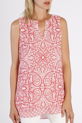 printed sleeveless split neck tunic *NEW*