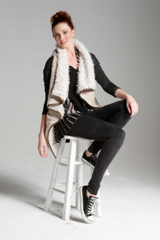 Faux Sherling Vest with Vegan Leather Trim