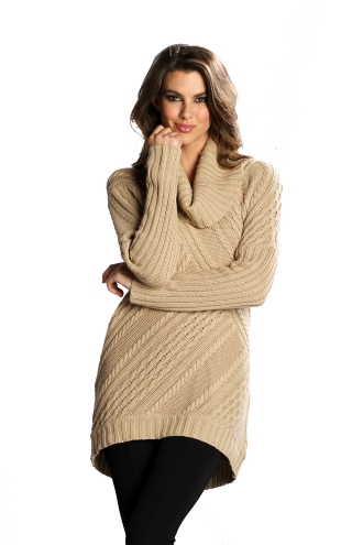 CABLE COWL NECK TUNIC