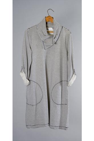 Yarn Dye Striped French Terry Cowl Neck Dress