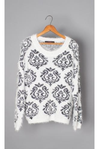 Brocade Jacquard Fuzzy Crew Neck Sweater