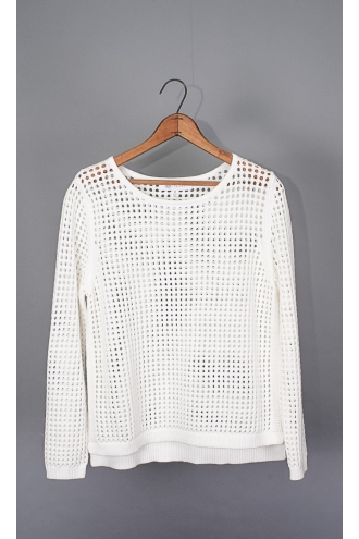 SOLID SIDE CREW NECK BLOCKED MESH PULLOVER