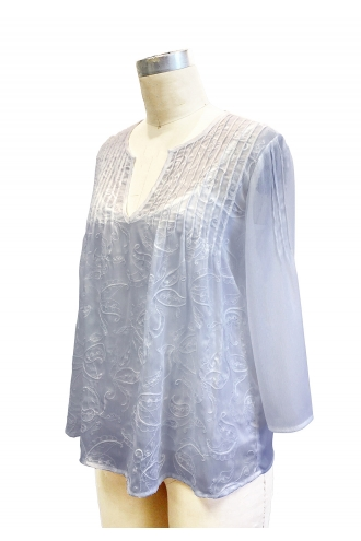 EMBROIDERED BLOUSE  WITH PLEATS