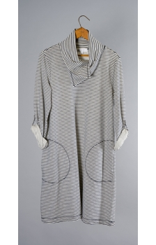 Yarn Dye Striped French Terry Cowl Neck Dress
