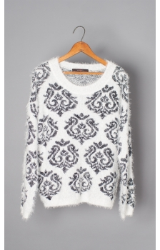 Brocade Jacquard Fuzzy Crew Neck Sweater