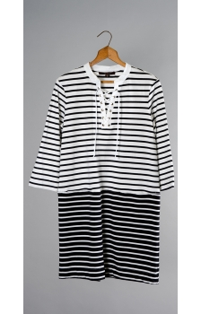 FRENCH TERRY SAILOR LACE UP DRESS